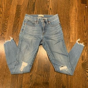 """NWOT Madewell 9"""" Distressed Skinny Jeans"""